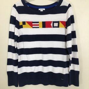 Nautica Sweater Size Large Striped 100% Cotton